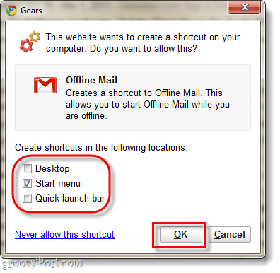 create an offline gmail shortcut