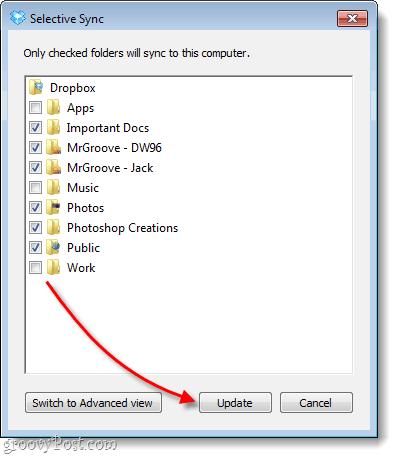 dropbox sync folders choice screen