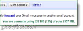 you are currently using x amount of space in gmail