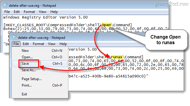 open turns into runas and save text file