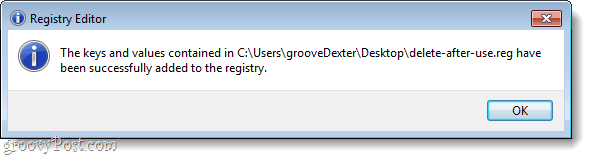registry key confirmation