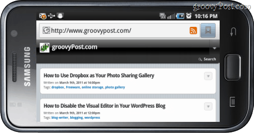 samsung galaxy viewing internet browser groovypost in landscape view