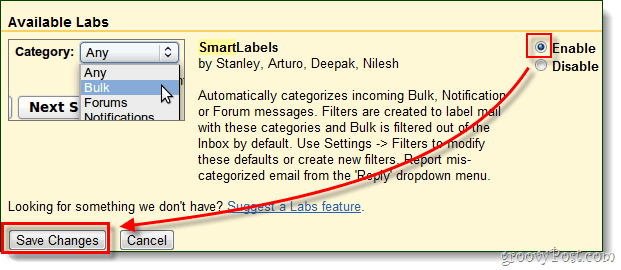 enable gmail labs smart filters