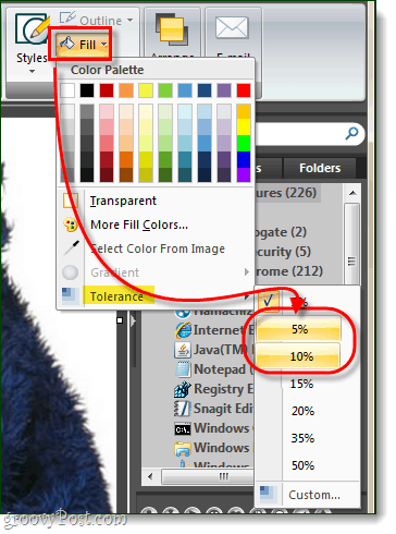 set fill tolerance to 5 or 10% for snagit