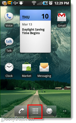 android home screen app button