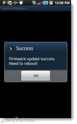 android camera firmware updated, reboot camera app