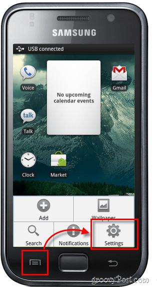 android menu settings home screen