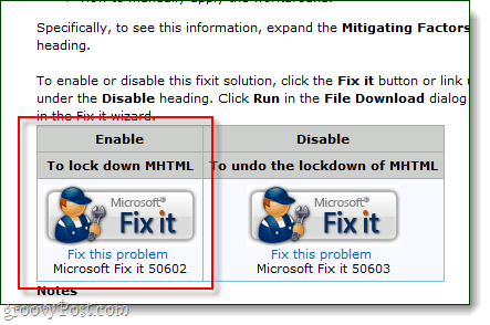 microsoft fix it support for mhtml lockdown