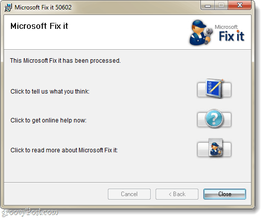 microsoft fixit completed
