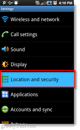 Android location and security settings