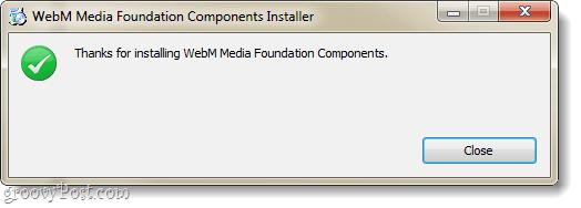ie9 webm plugin installation complete