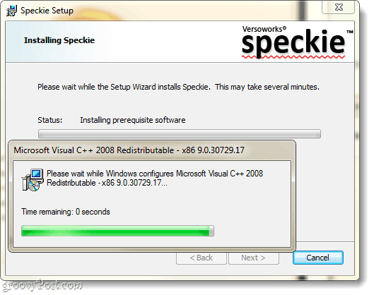 speckie setup window