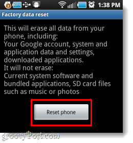 android factory reset phone button
