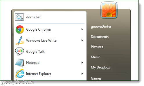 Chrome logo in start menu