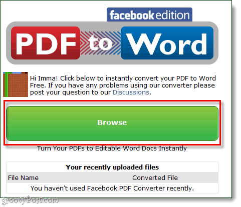 PDF to word Facebook browse