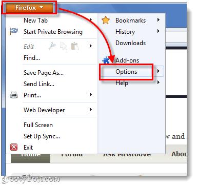 firefox menu options list