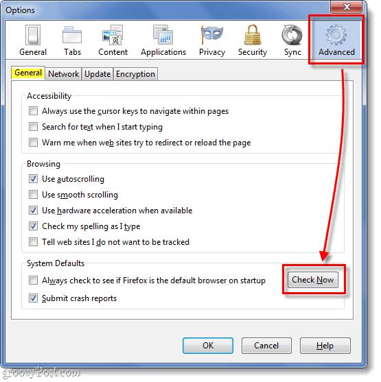 firefox options window, advanced tab, general subtab