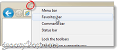 favorite bar internet explorer 9