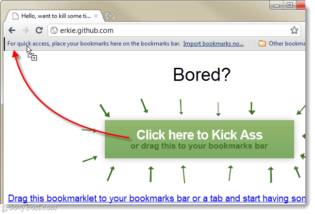 drag bookmarklet to the bookmark bar