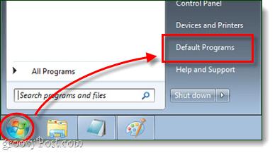 Start Menu orb default programs