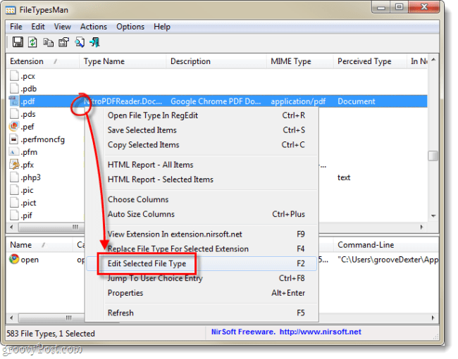File Types Manager edit selected type