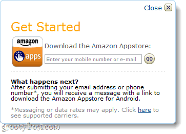 enter number on android amazon app store
