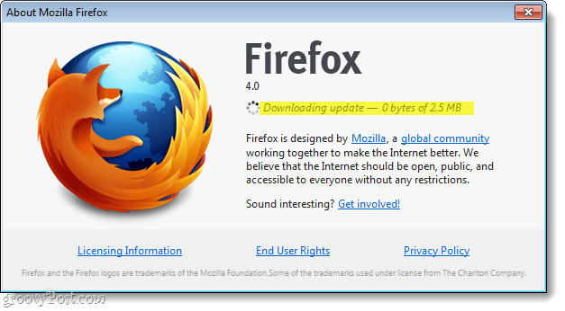Firefox 4 downloading update