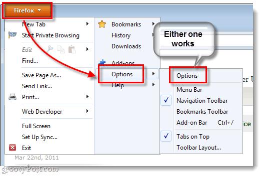 Firefox 4 Options > Options