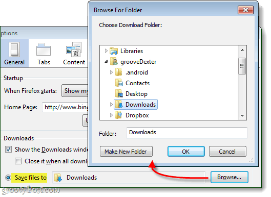 Save files to one folder and browse to set that folder