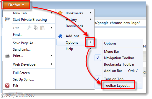 firefox menu options > toolbar layout