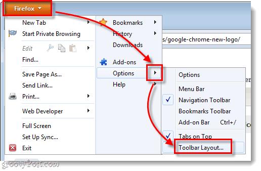 firefox menu options > toolbar layout