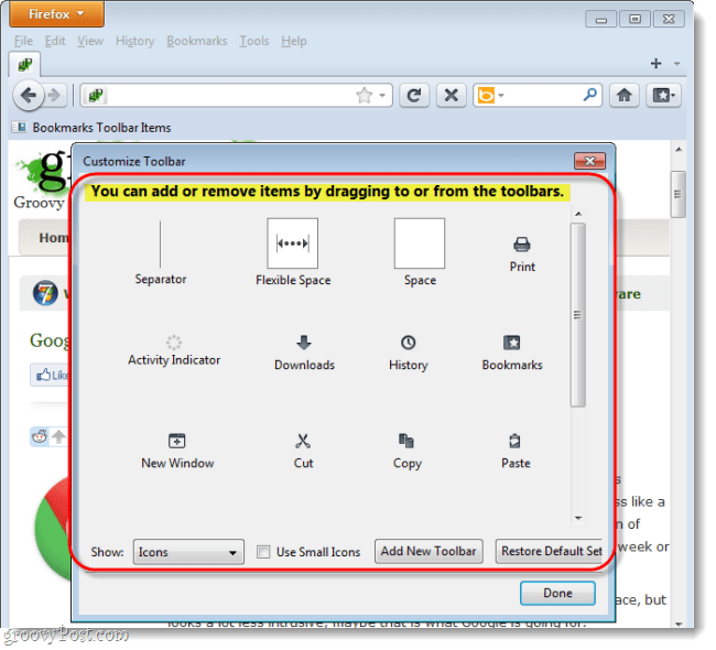 remove or drag items to the firefox 4 toolbars