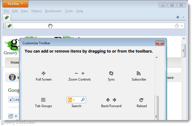 remove items from the firefox toolbars