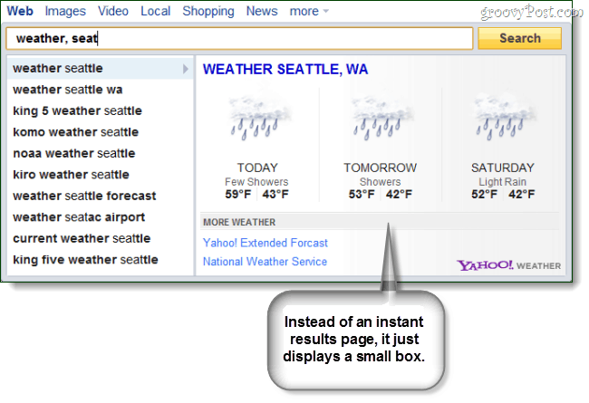 Yahoo Search Direct for weather