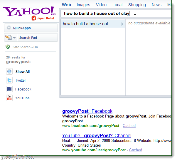yahoo search direct no results available
