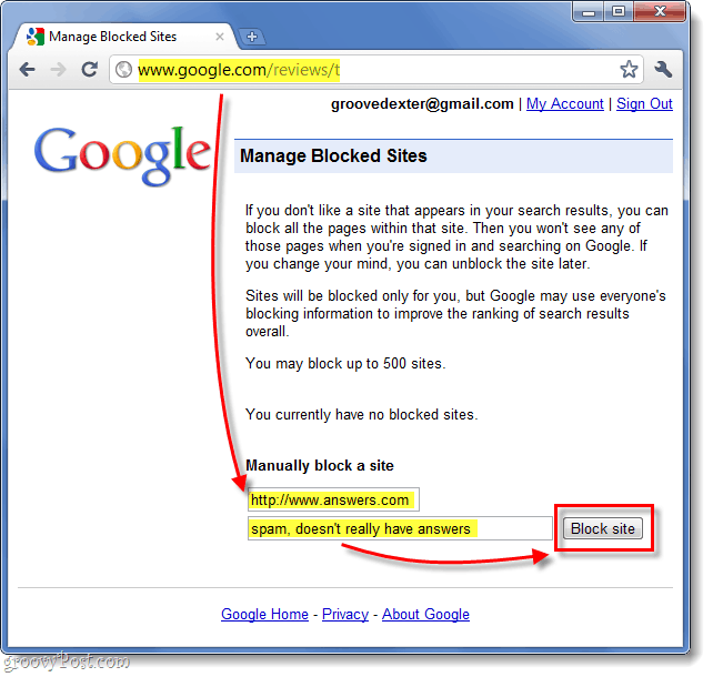 manually block a website from google search results