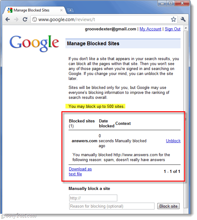 list of your google blocked websites