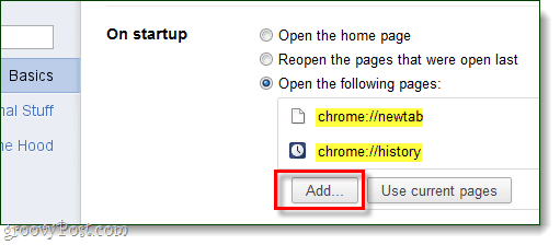 Chrome startup Add pages to open