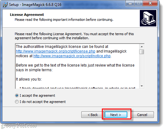 basic setup screenshot of imagemagick for windows
