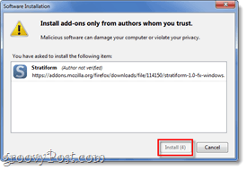 install add-on confirmation window firefox 4