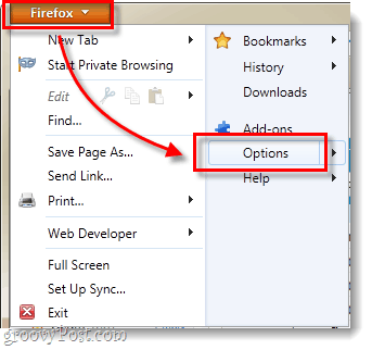 Firefox 4 options menu