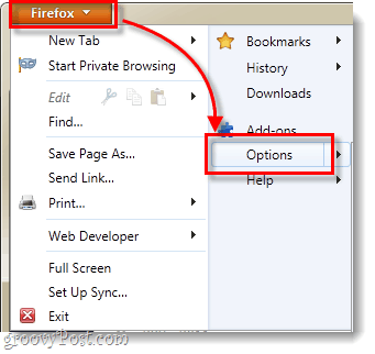 firefox 4 menu options