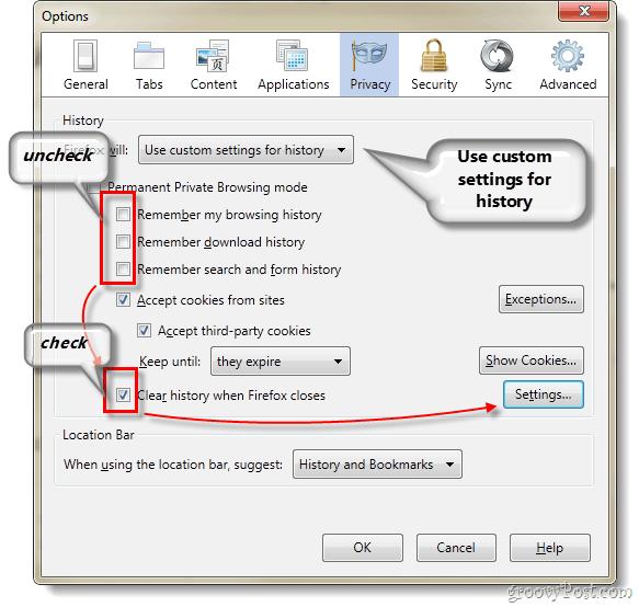 Firefox 4 privacy options customization
