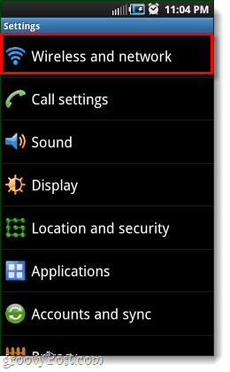 android wireless and network settings