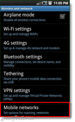 mobile networks options for android