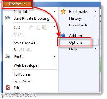 Firefox 4 - Options menu