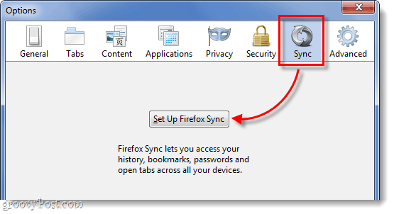 Sync tab on Firefox 4 for set up sync