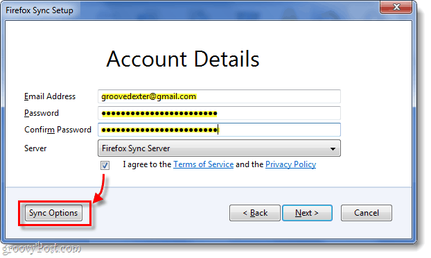 firefox sync account details entry, sync options button