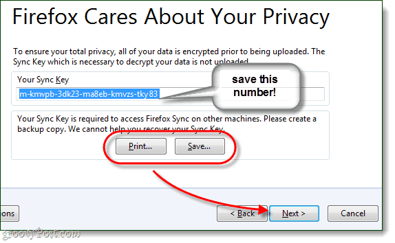 save your firefox sync key, very important