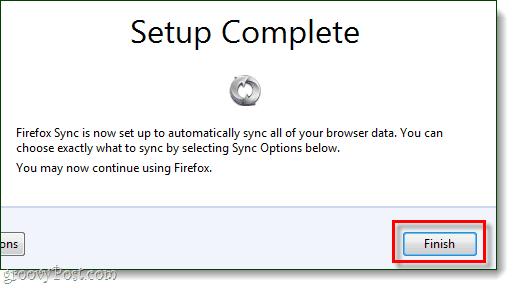 firefox sync setup complete window